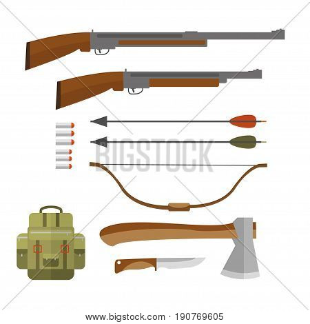 Set of hunting equipment and gear for hunt. Vector icon collection: rifle, knife, shotgun,  backpack, arbalest, arrow  and  bench axe.