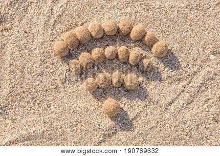 Wifi Sign Created With Dried Algae Ball On Sand Beach