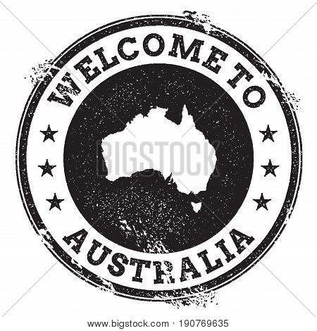 Vintage Passport Welcome Stamp With Australia Map. Grunge Rubber Stamp With Welcome To Australia Tex
