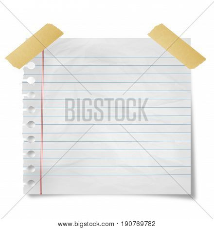 Piece of paper with adhesive tape on white