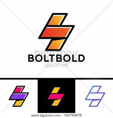 Electrical Logo Concept. Lightning Bolt Minimal Simple Symbol Outline Style. Flash Sign Design Vecto