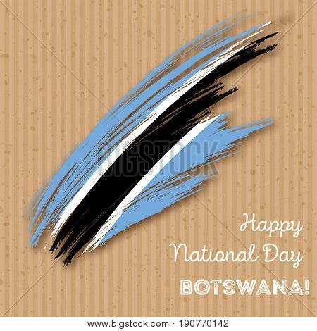 Botswana Independence Day Patriotic Design. Expressive Brush Stroke In National Flag Colors On Kraft