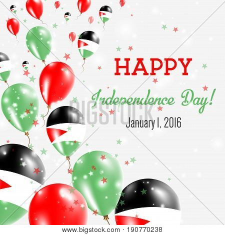 Palestine, State Of Independence Day Greeting Card. Flying Balloons In Palestine, State Of National