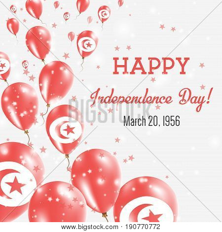 Tunisia Independence Day Greeting Card. Flying Balloons In Tunisia National Colors. Happy Independen