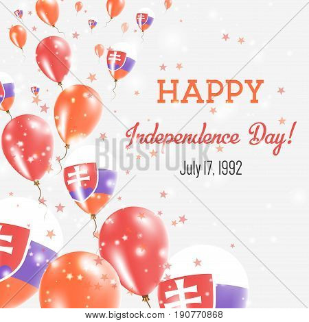 Slovakia Independence Day Greeting Card. Flying Balloons In Slovakia National Colors. Happy Independ
