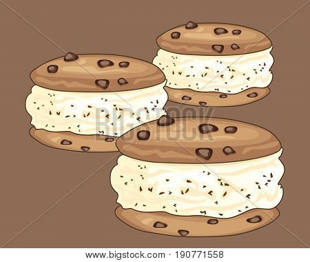 an illustration of chocolate chip ice cream sandwich treats with cookies on a brown background