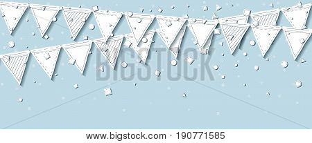 Garland Flags. Classy Celebration Card With White Stitched Cutout Paper Garland Flags And Confetti O