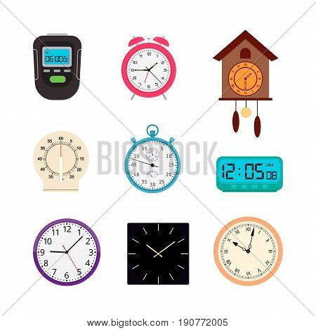 Vector set of analog and digital clocks and timers