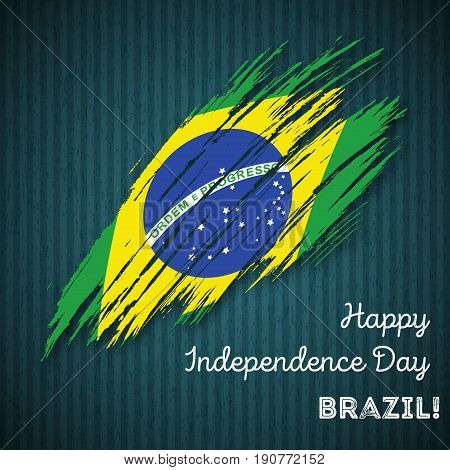 Brazil Independence Day Patriotic Design. Expressive Brush Stroke In National Flag Colors On Dark St