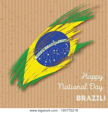 Brazil Independence Day Patriotic Design. Expressive Brush Stroke In National Flag Colors On Kraft P