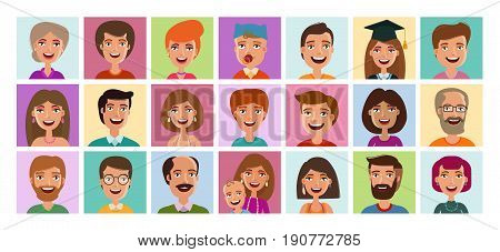 People set of icons. Avatar, person, human face symbol, sign or logo. Cartoon vector illustration isolated on white background