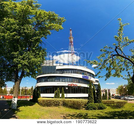 GOMEL BELARUS - May 14 2017: The building of the shopping entertainment center Pushkin Plaza in the city of Gomel.