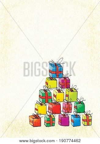 Pyramid of multi-colored boxes with gifts on a textured background. Stylization of children's drawings
