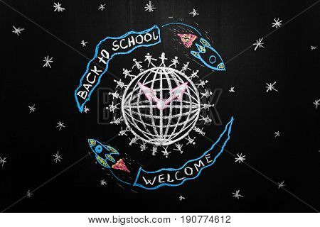 Back to school background with spaceships with flags with titles