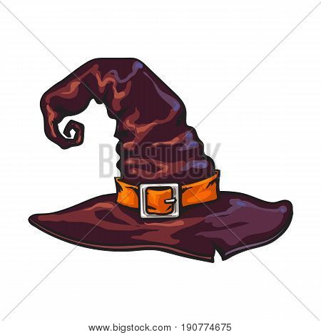 Old witch, wizard pointed hat, Halloween decoration element, sketch style vector illustration isolated on white background. Hand drawn witch hat, Halloween object, decoration element