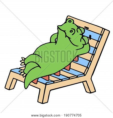 Funny dinosaur resting on a deck-chair. Vector illustration. Cute cartoon character. Chair on separate layer.