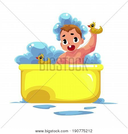 Cute little baby kid, infant, child taking foam bath with rubber ducks, cartoon vector illustration isolated on white background. Little caucasian kid, baby, infant taking foam bath, daily hygiene