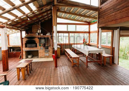 Mir, Belarus - September 1, 2016: Interior Of Restroom Dining Room In Belarusian Or Russian Wooden Guest House In Village Or Countryside Of Belarus Or Russia. Ecotourism And Travel.