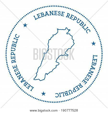 Lebanon Vector Map Sticker. Hipster And Retro Style Badge With Lebanon Map. Minimalistic Insignia Wi
