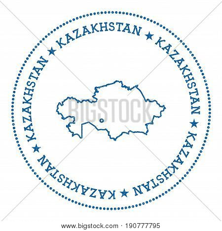 Kazakhstan Vector Map Sticker. Hipster And Retro Style Badge With Kazakhstan Map. Minimalistic Insig