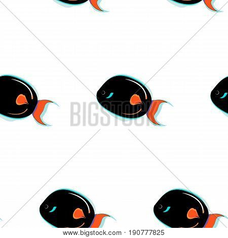 Sea color flat design fish Tropical fish on wihite background. Seamless pattern with tropical fish on white background. Hawaii fish.