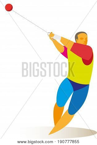 strong athlete is a hammer thrower on the competition