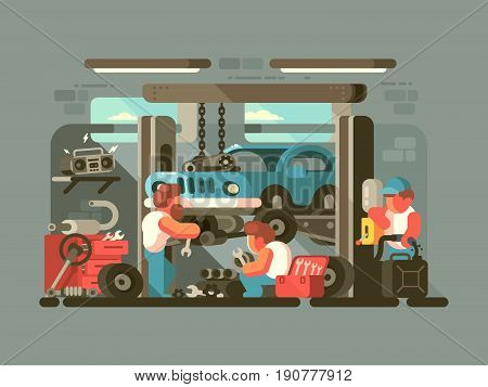 Garage auto service. Mechanics repair car engine. Vector flat illustration
