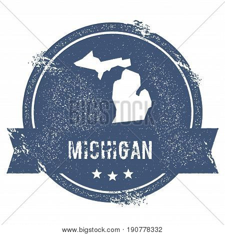 Michigan Mark. Travel Rubber Stamp With The Name And Map Of Michigan, Vector Illustration. Can Be Us