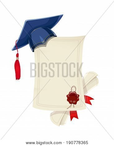 Blue academicic graduation cap with diploma blank and scroll. Students ceremony. Finish school, college, university. Education symbol. Isolated white background. Vector illustration.