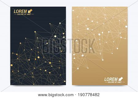 Vector template for brochure Leaflet flyer advert cover catalog poster magazine or annual report. Geometric background molecule. Golden cybernetic dots communication. Lines plexus. Card surface