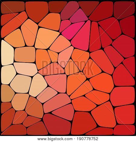 Abstract Geometrical Red Background Consisting Of Geometric Elements Arranged On A Black Background.