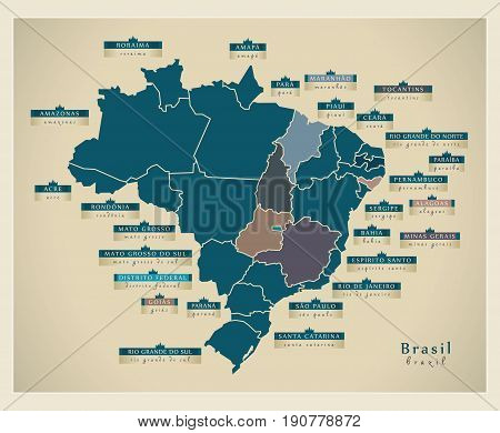 Modern Map - Brazil With District Details  Br