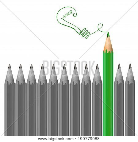 Gray pencils and one green pencil drawing light bulb. Idea and individuality concept. VECTOR