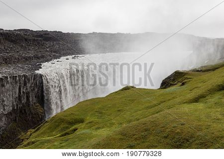 Powerful Dettifoss Waterfall In Vatnajokull National Park In Northeast Iceland. Most Powerful Waterf