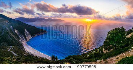 Gorgeous sunset over most beautiful beach Myrtos, Kefalonia island