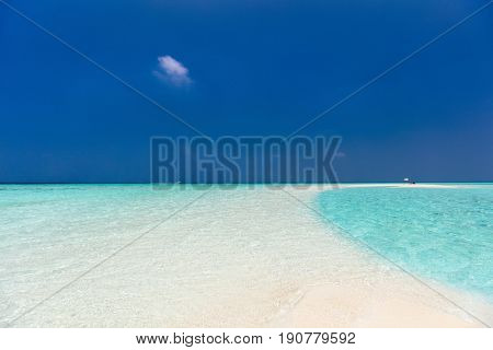 Beautiful tropical beach on sandbank at Maldives