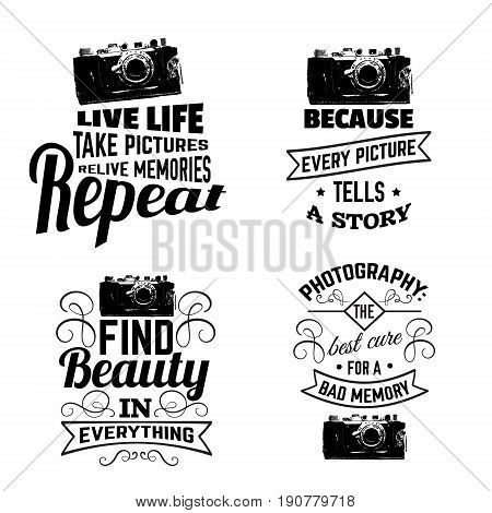 Quote typographical background about photography with illustration of camera in hand drawn sketch style. Template for card poster and banner in vintage style. Vintage texture.