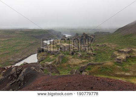 Iceland Volcanic Landscape. Grooved Land - Result Of An Old Powerful Lava Flow After Volcano Eruptio