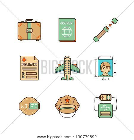 Vector Minimal Lineart Flat Travel Iconset: Suitcase, Passport, Seat Belt, Insurance, Airplane, Phot