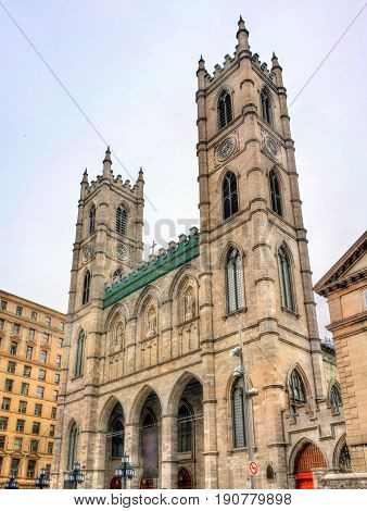 Notre Dame Basilica of Montreal in Quebec, Canada