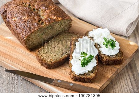 Zucchini Bread On The Wooden Board