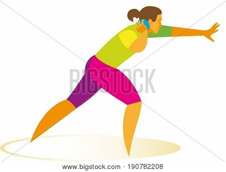 The woman is the shot putter participate in competitions
