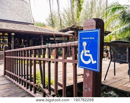 Signs Wheelchair ramp in floating market . Ramps for the disabled