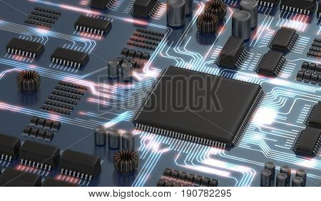 3D Rendered Illustration Of Electronical Circuit With Microchip
