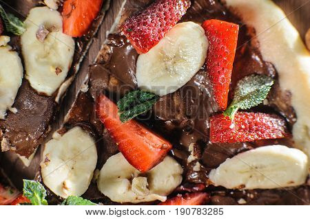Fruit Pizza Made With Chocolate And Banana