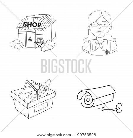 Salesman, woman, basket, plastic .Supermarket set collection icons in outline  vector symbol stock illustration .