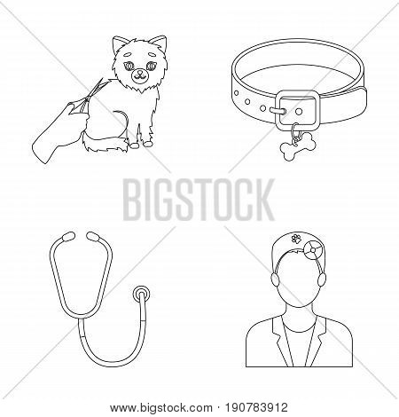 Collar, bone, cat, haircut .Vet Clinic set collection icons in outline  vector symbol stock illustration .