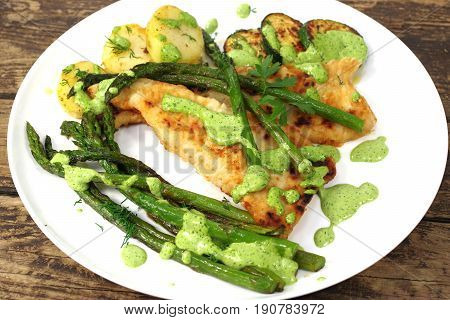 fried green asparagus in plate with fish