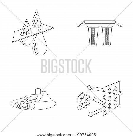 Purification, water, filter, filtration .Water filtration system set collection icons in outline  vector symbol stock illustration .