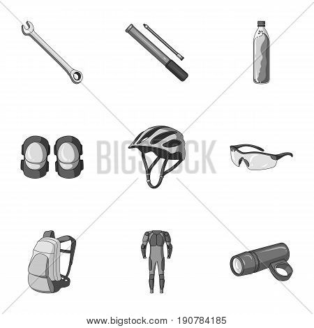 Icons of Cycling, bike. Set for bike, backpack protection, repair, form. Cyclist outfit icon in set collection on monochrome  vector symbol stock  illustration.